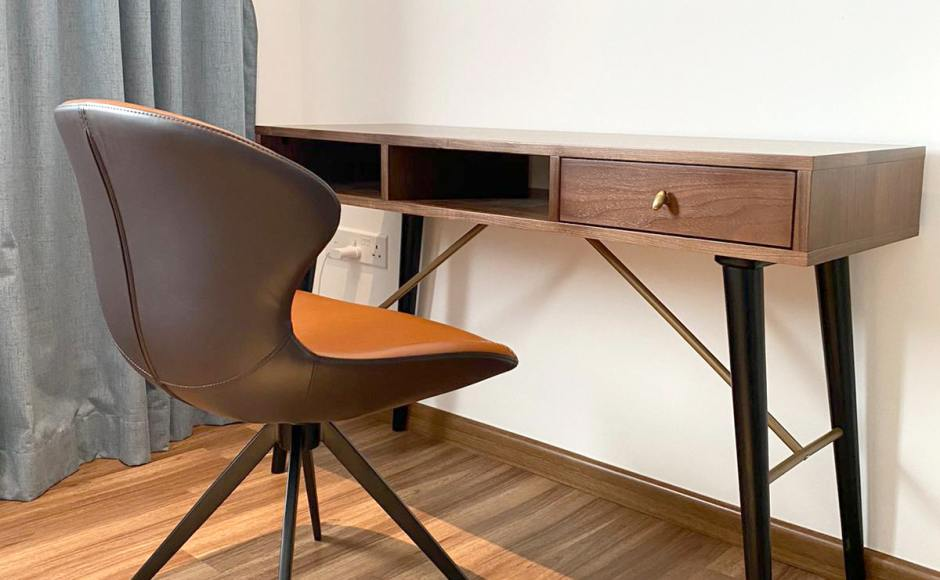 Residence - Henderson Road | Products Seen: [Zeth Study Table - Walnut & Esther Lounger / Halved-Arm Chair]