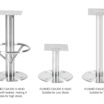 Flushed Table Base – Stainless Steel (for floor mounting)