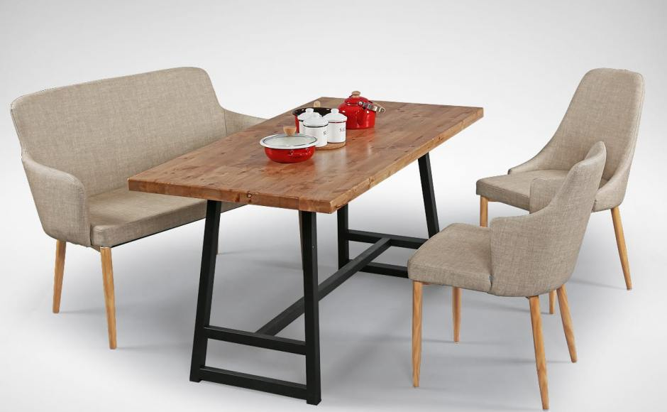 [Debbie Dining Bench, Anderson Dining Table – W1500, Corine Armchair & Beatrice Sidechair]