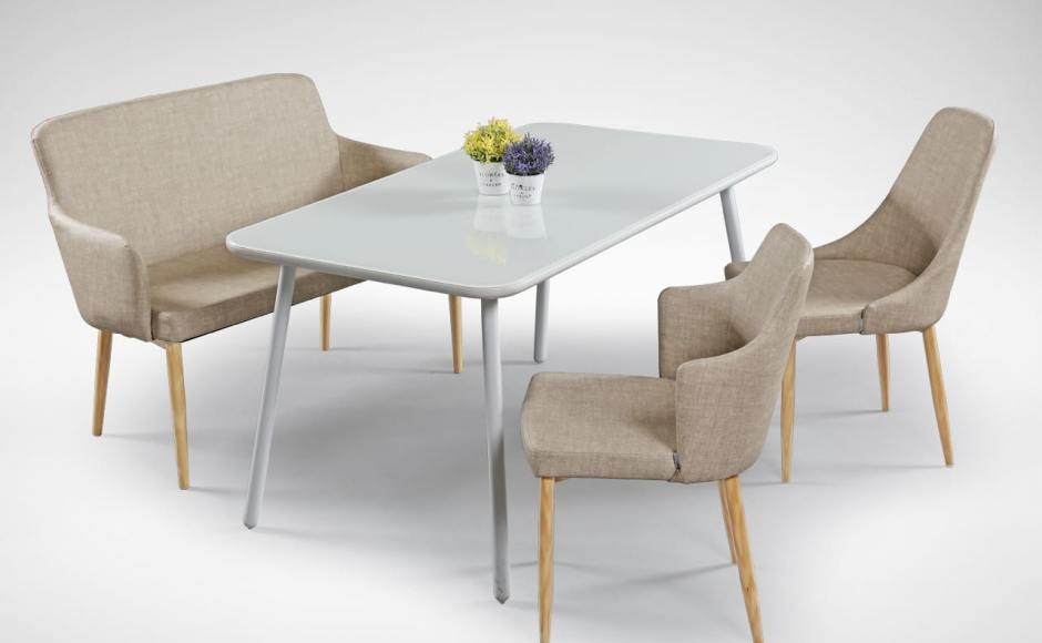 [Debbie Dining Bench, Sandra Dining Table – W1200, Corine Armchair & Beatrice Sidechair]