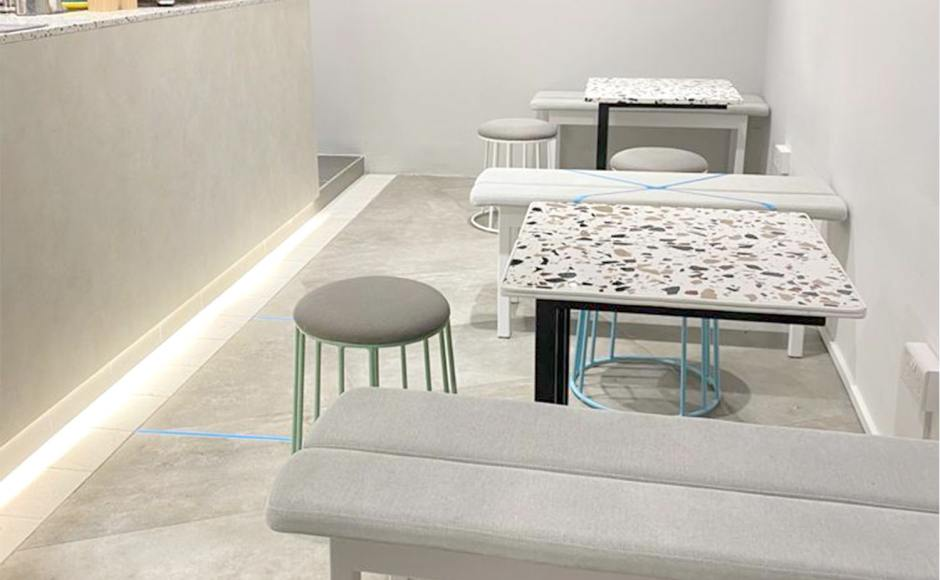 Galaxy The Pastry Kitchen | Product Seen: [Haru Bench - Cushioned Seat/Wood Leg - W1100, Campus Stool & Terrazzo x Carrie Side Table]