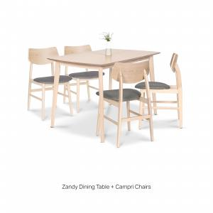 Zandy Dining Table + Campri Side Chair – Bundle 4