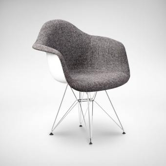Gum – Half Fabric + Eiffel Chrome Arm chair