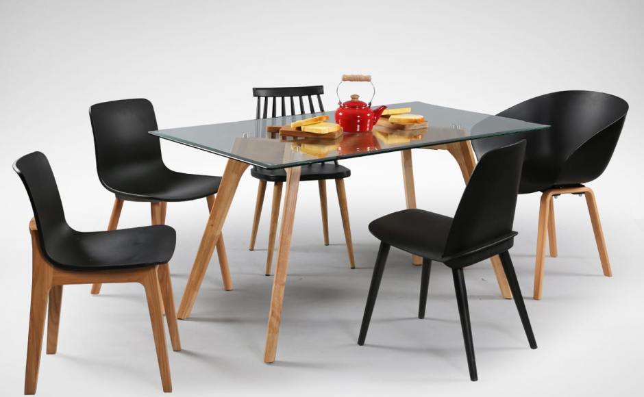 [Ariel Armchair, Plug + Square Leg Chair, Plug + Round Leg Chair, Choyu Chair, Troy Chair & Putin Glass Dining Table]