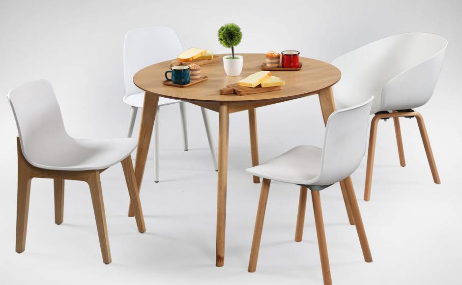 [Ariel Armchair, Plug + Square Leg Chair, Plug + Round Leg Chair,Troy Chair & Oakland Round Dining Table – Natural]