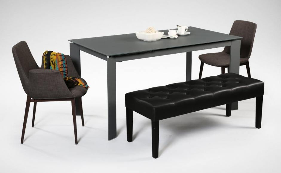 [Kamada Extendable Dining Table, Fondue Sidechair, Fondue Armchair & Jilly Bench]<br />