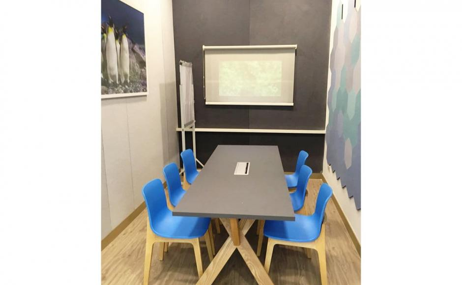 River Safari Office - Woodland | Product Seen: [Plug + Square Leg Chair & Customised Laminate Tabletop + Dock Leg]<br />