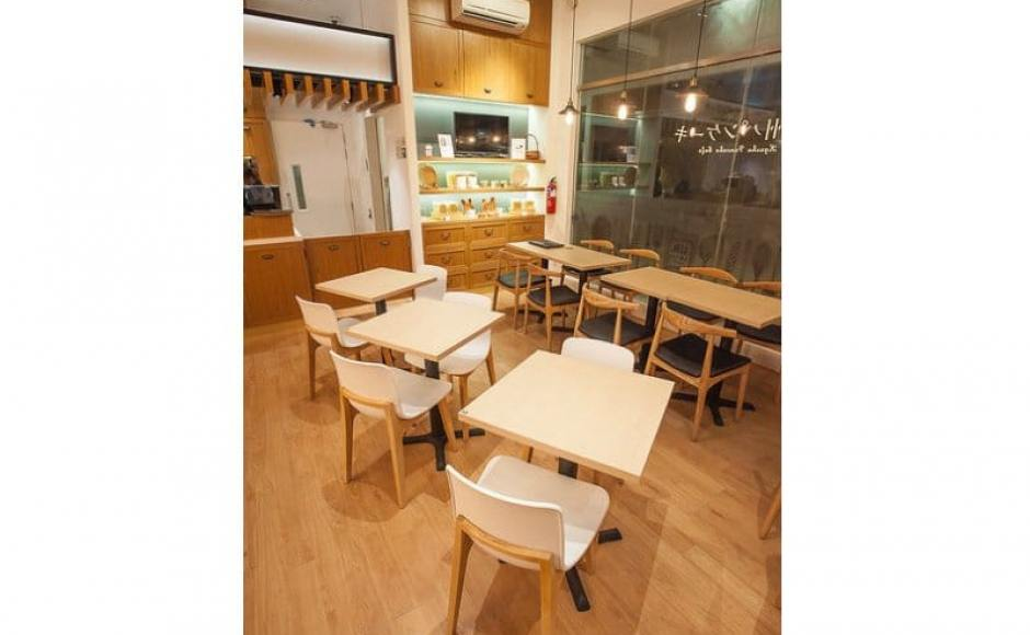 Kyushu Pancake Cafe - Novena | Products Seen: [Customised Table Top + Filo Table Base, Plug + Square Leg Chair & Osaka Sidechair]