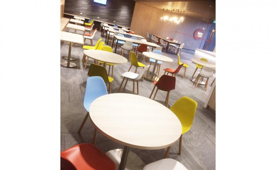 Changi Airport Group D45 Canteen for Airside | Product Seen: [Argo + Round Leg Chair, Ricky Dining Table w/ Butcher Top &amp; [Customised Laminate Tabletop + Traxtor Round Table Base]<br />