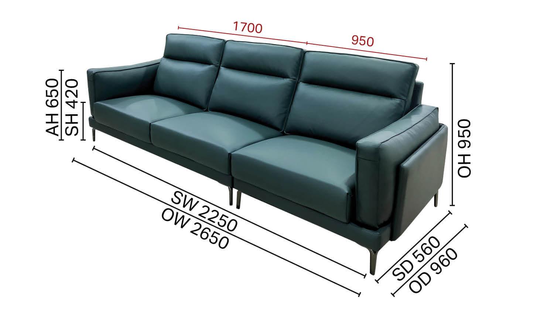 Evan 4-Seater Sofa - Half Leather
