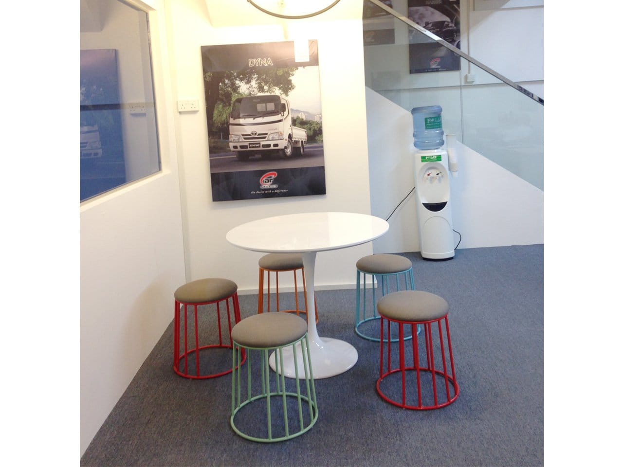 Car (S) Pte Ltd @ Loyang Enterprise Building | Products Seen: [Campus Stool & Megan Dining Table – Dia900]<br />