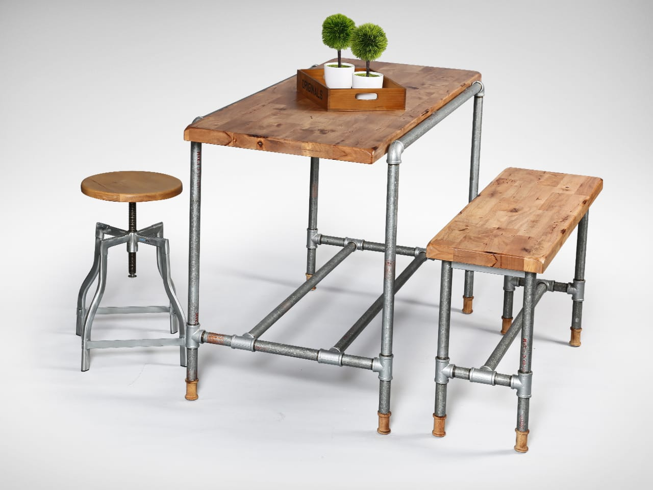 [Pipe Dining Table, Industrial Stool Wood+Galvanised & Pipe Bar Bench]