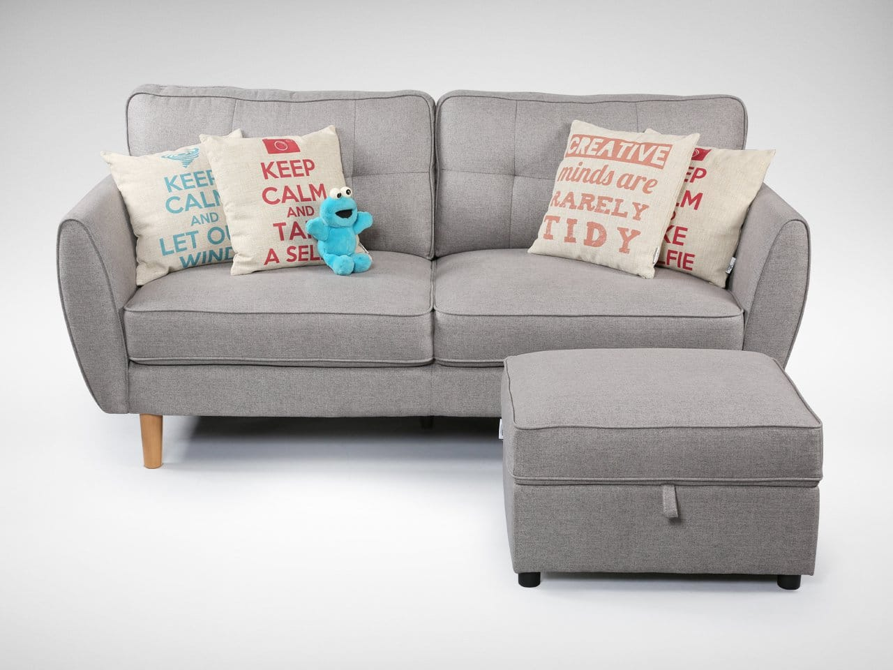 [Korito 3-Seater Sofa, Treasure Ottoman & Cushions (Keep Calm Let Out Wind, Keep Calm Selfie & Creative Minds)]<br />