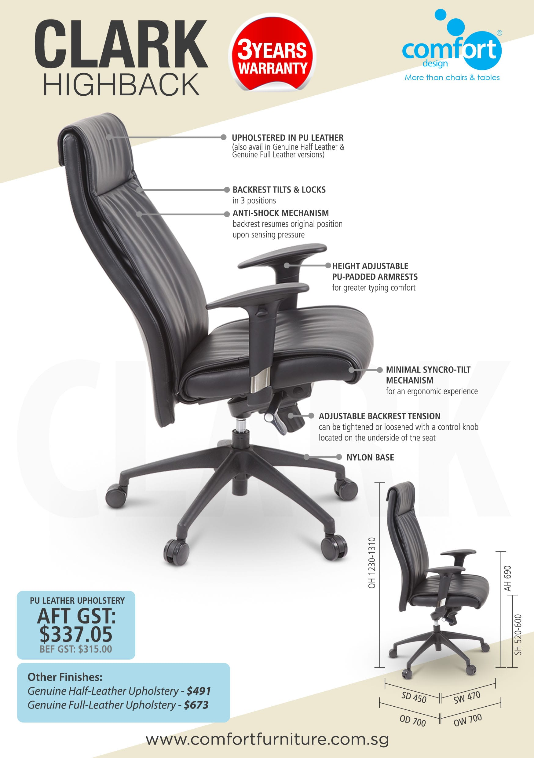 Clark Highback Office Chair Comfort Design The Chair