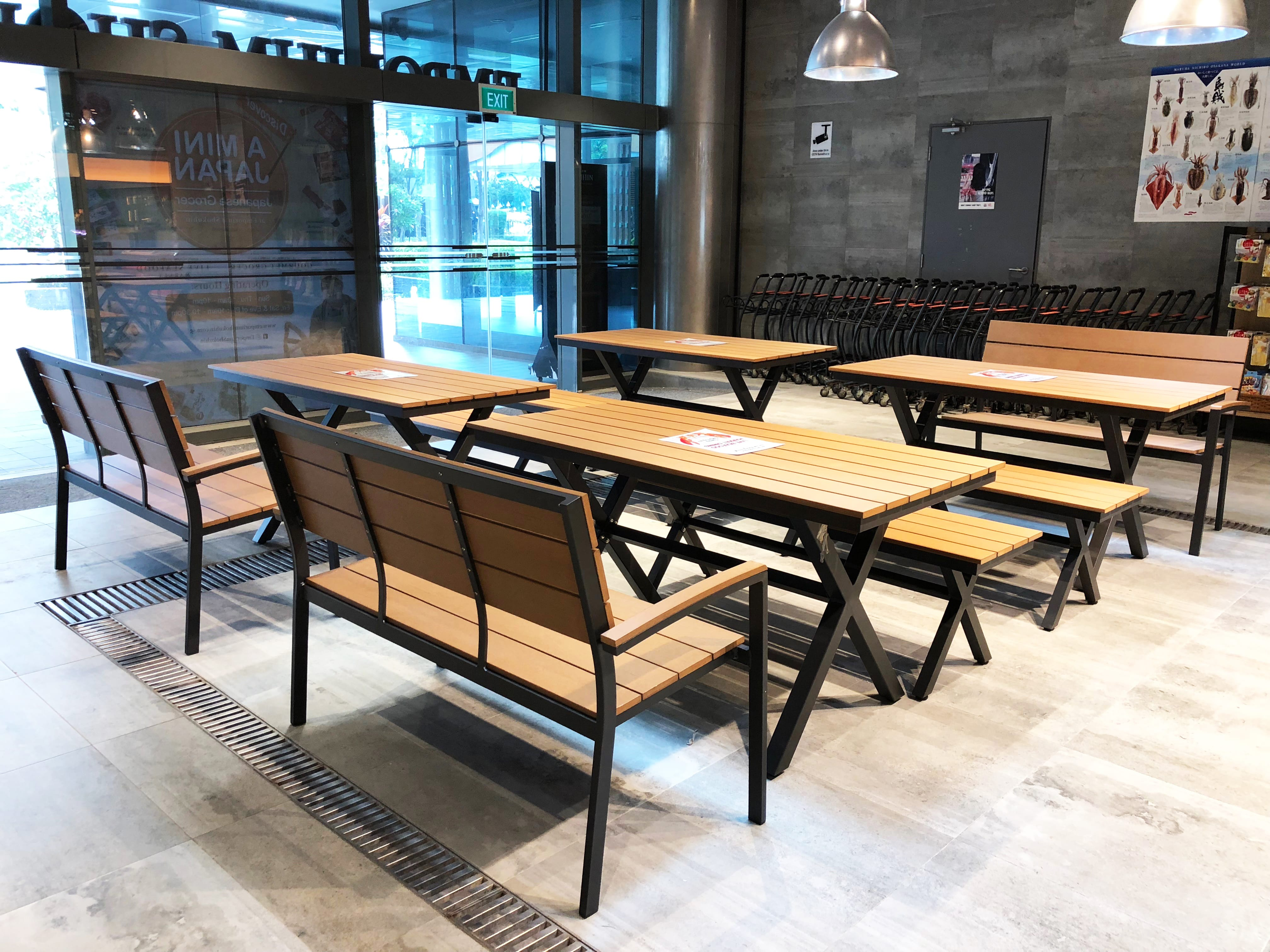 Emporium Shokuhin - Marina Square | Product Seen: [Fossil Outdoor Bench – Highback, Fossil Outdoor Bench – No Back & Fossil Outdoor Dining Table - W1400]