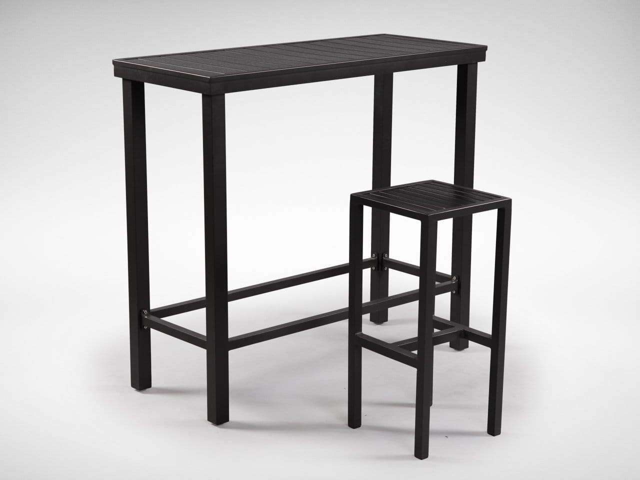 [Hiro Outdoor Bartable - Rectangle & Dereck Outdoor Barstool]