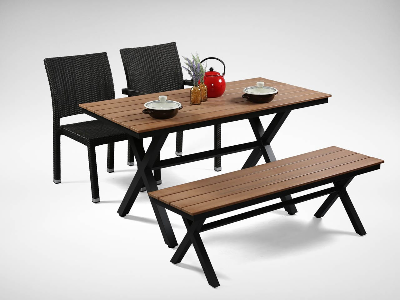 [Fossil Outdoor Dining Table, Fossil Outdoor Bench No Back, Maldives Outdoor Armchair & Maldives Outdoor Sidechair]