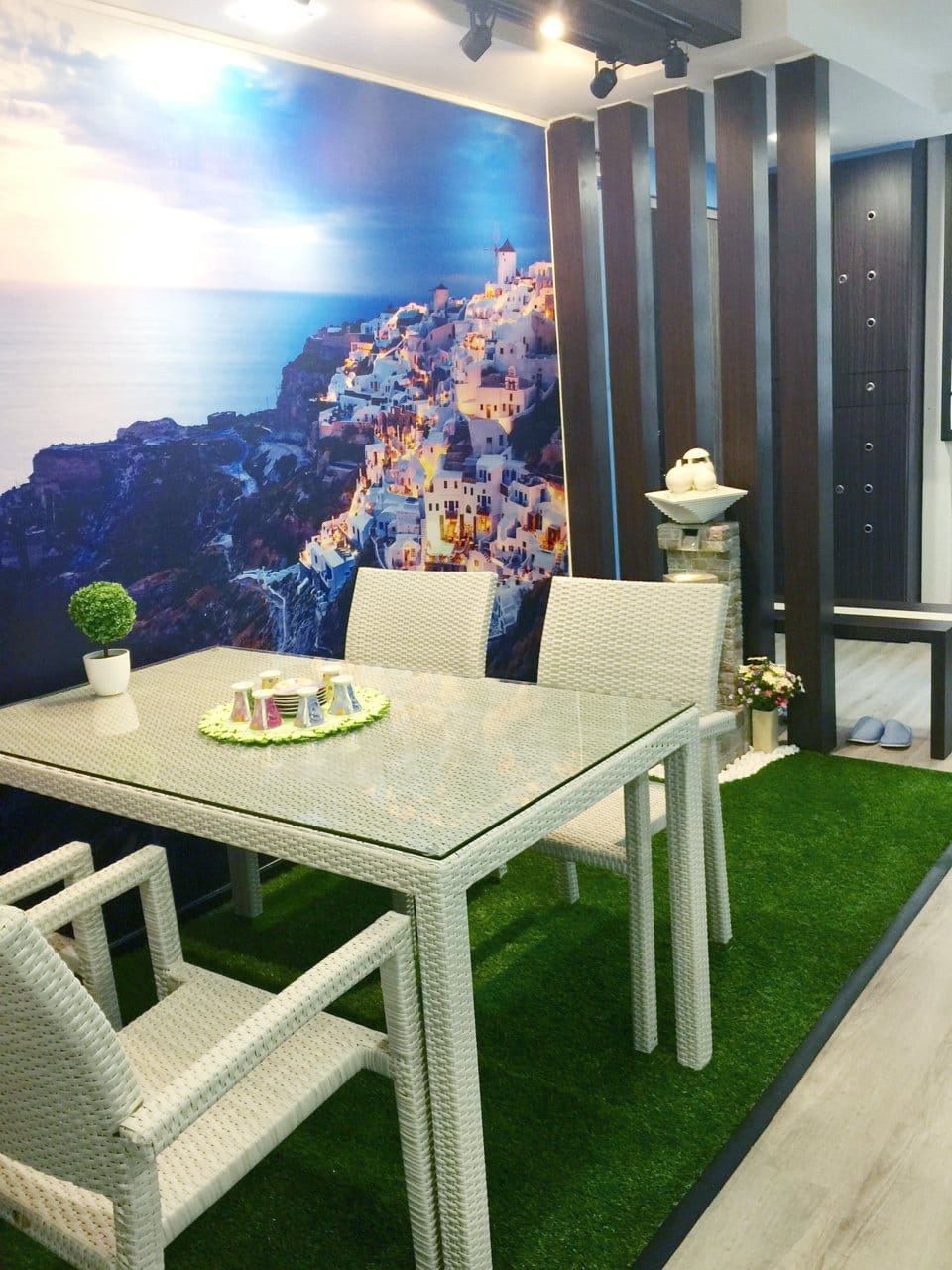 Apartment - Eunos | Products Seen: [Synthetic Grass Carpet, Dayboro Outdoor Dining Table – Rectangle, Maldives Outdoor Armchair & Plant – Clover Tree]