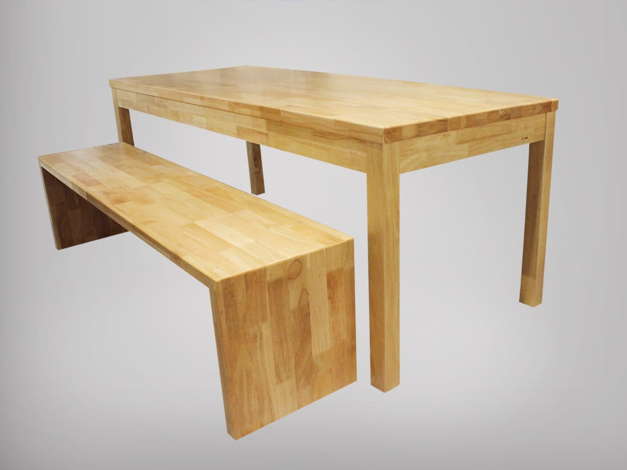 Column Dining Table W Clean Rubberwood Top Customisable