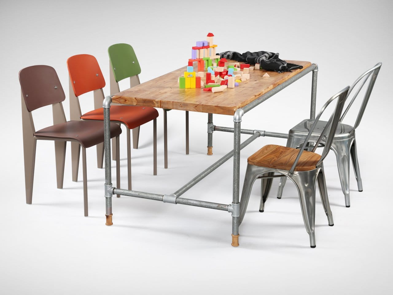 [Pipe Dining Table, Heidi Sidechair, Dojo Sidechair Wood+Galvanised & Dojo Sidechair Galvanised]<br />