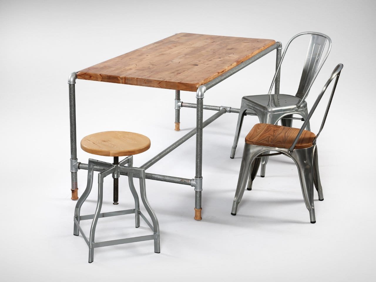 [Pipe Dining Table, Industrial Stool Wood+Galvanised, Dojo Sidechair Wood+Galvanised & Dojo Sidechair Galvanised]<br />