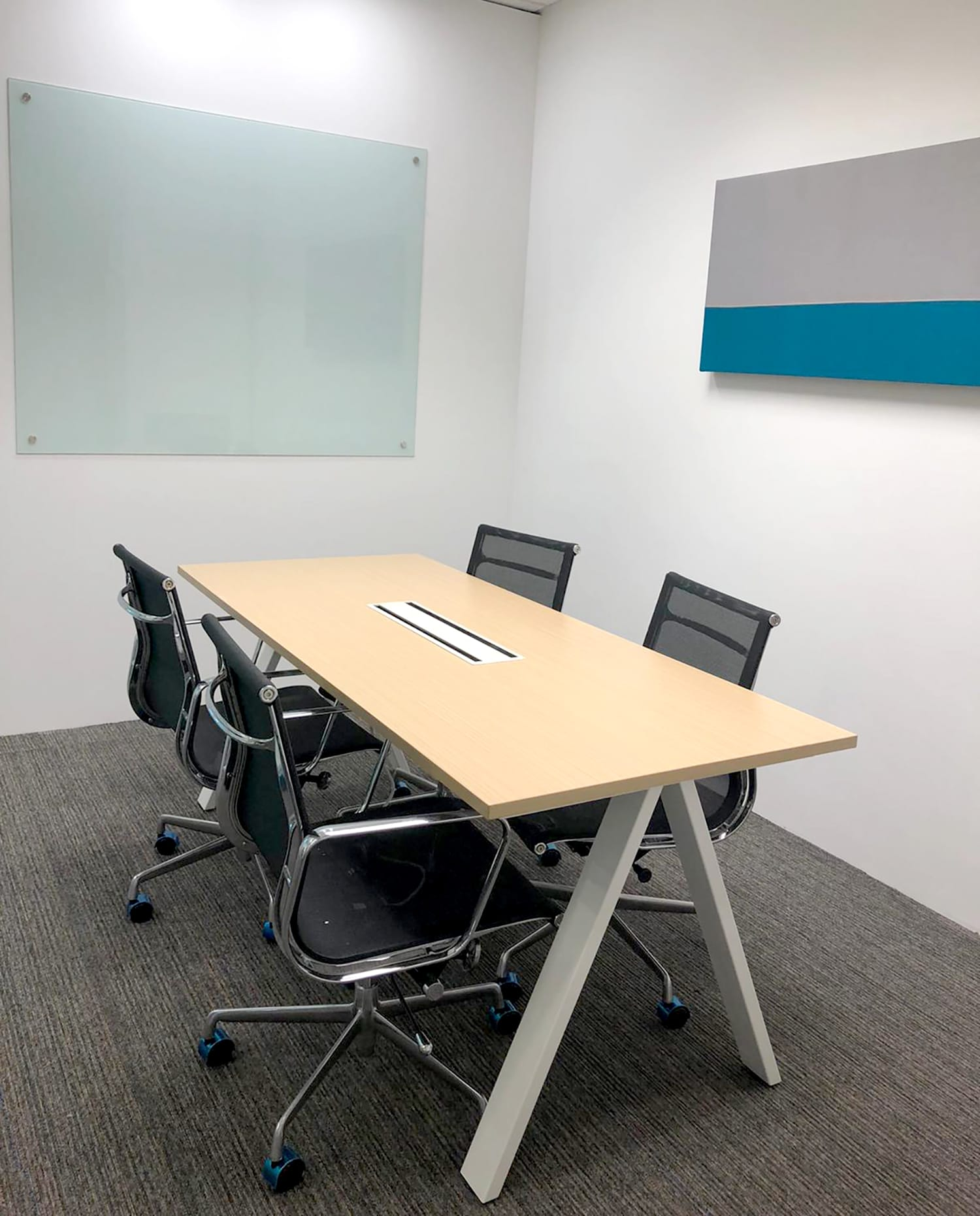 ASK Advisory Services - Paya Lebar | Product Seen: [Hush Ceiling Hanging Acoustic Partition, Apex Conference Table & Eam Mesh Midback Office Chair]