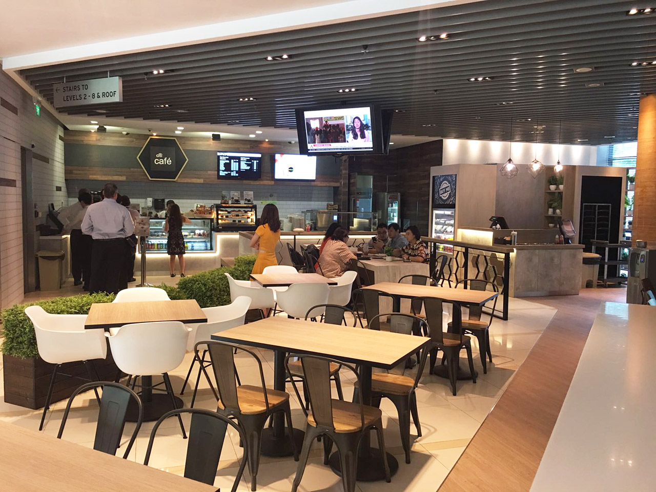 Citibank Citi Cafe - Changi South | Product Seen: [Customised Table top + Cosson Table Base, Abang – Steel Chair & Dojo Sidechair – Wood Seat]<br />