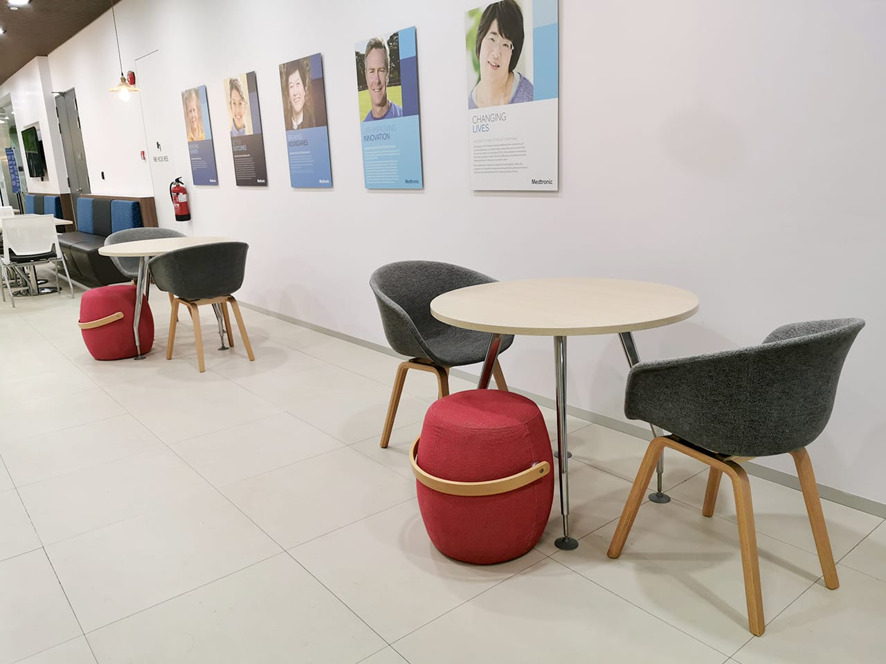 Covidien Private Limited - A Medtronic Company | Product Seen: [Tara Arm Chair – Fabric + Wood & Costello Stool]