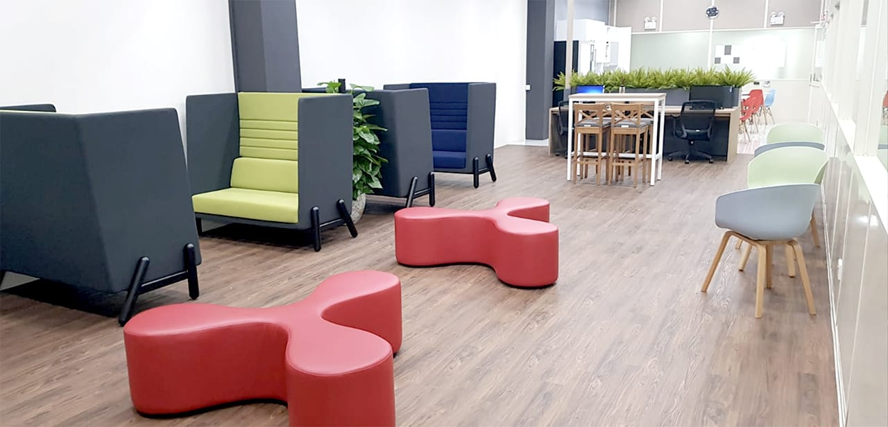 Edwards Technologies Singapore - Loyang | Product Seen: [Fan Bench, Helsa 2–Seater Sofa – Highback, Zara Arm Chair – PP + Wood & Decker Bar Table – W1100]