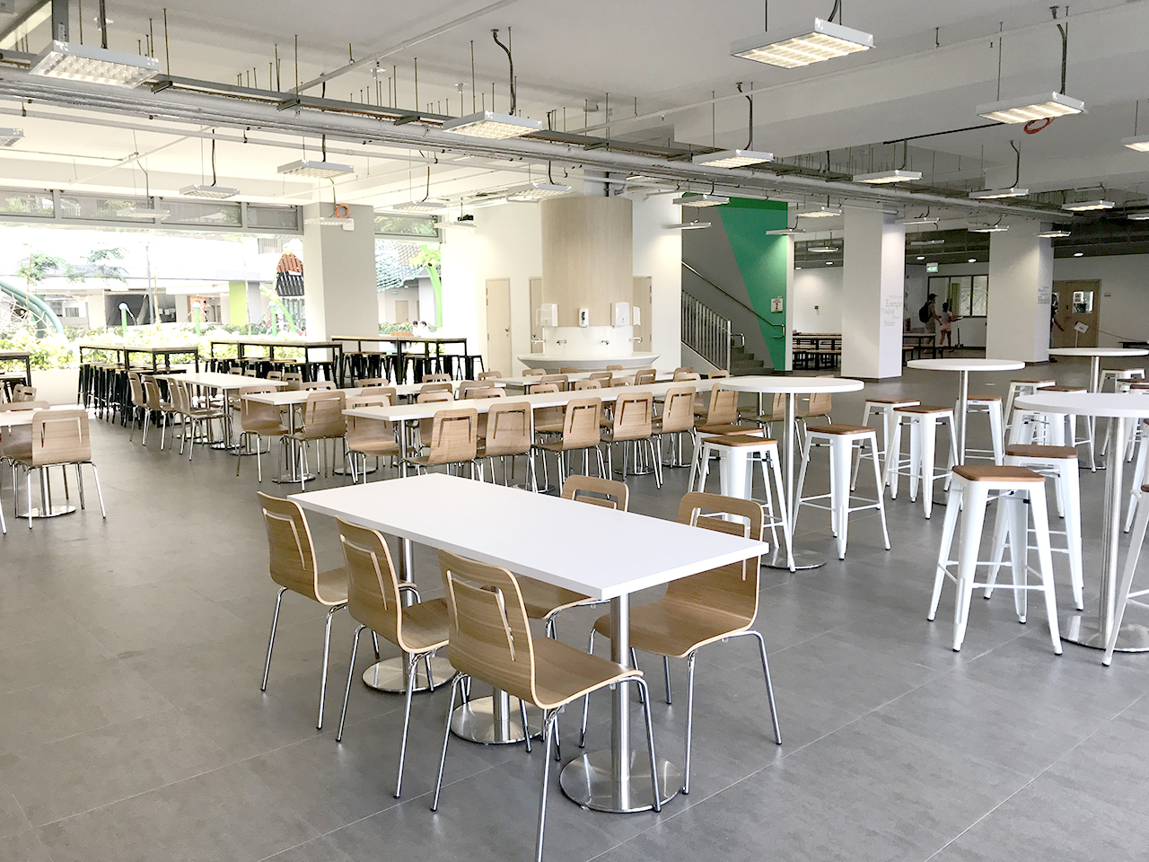 German European School Singapore | Product Seen: [Customised Laminate Tabletop + Traxtor Round Table Base, Brilliant-V1 Chair & Leo Barstool SH750 – Wood Seat]