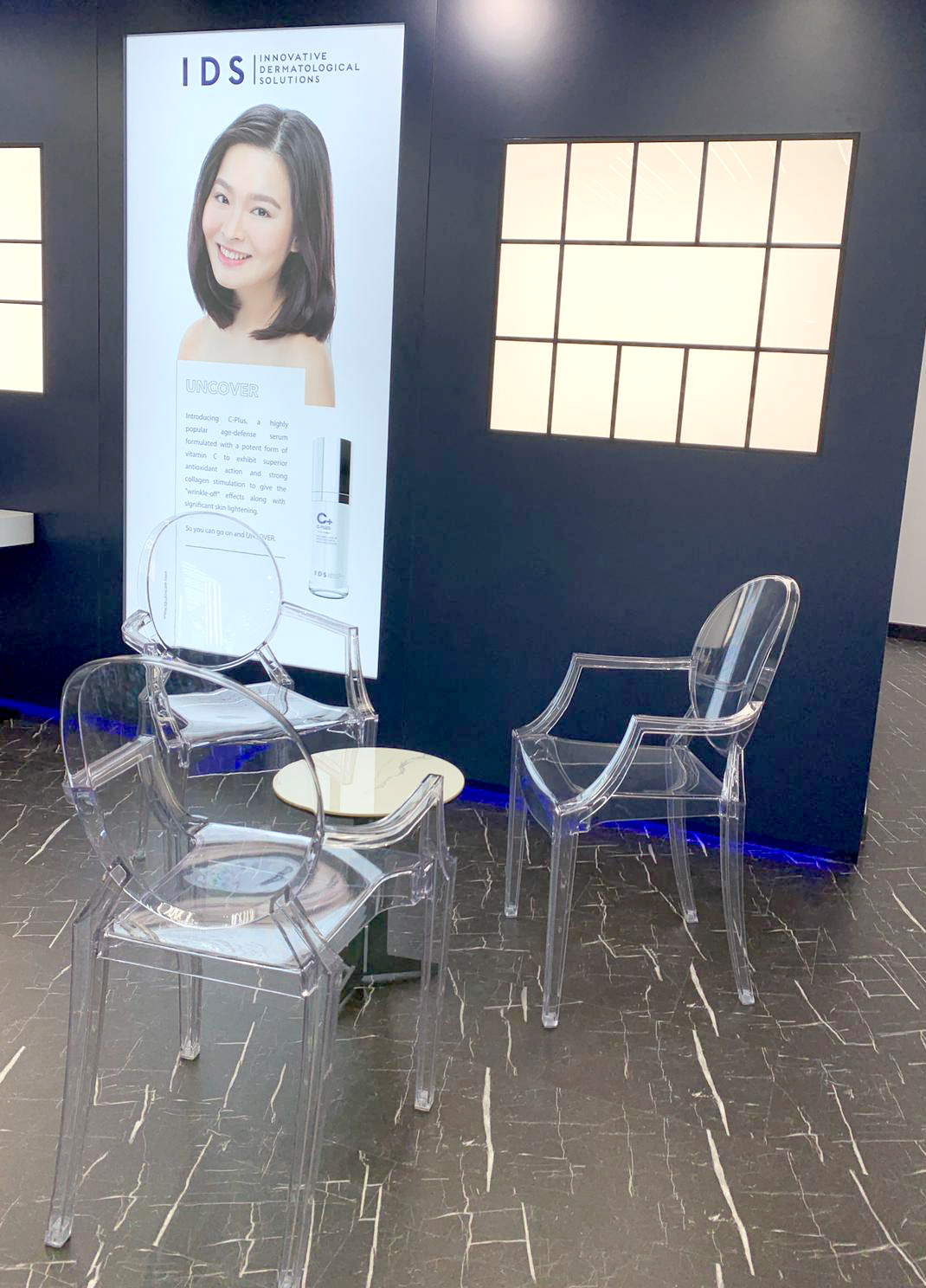 IDS Aesthetics - Orchard Road | Product Seen: [Vespa Arm chair & Gleam Coffee Table – Faux Marble (Ceramic)]