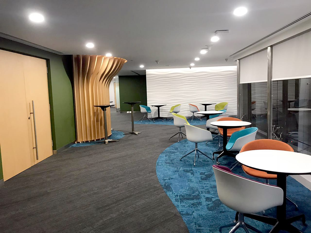 Ministry of Environment & Water Resources - Scotts Road | Product Seen: [Customised Laminated Tabletop With Natural Plywood Edging + Togoshi Height Adjustable Table Base, Alton Folding High Table – Round 600 (Nestable) & Blot 4Prong - Half Upholstery]