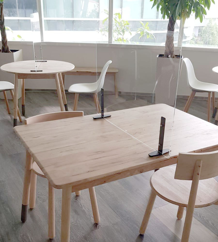 Autodesk Asia - Fusionopolis | Product Seen: [Fuse Round Dining Table – Dia900, Argo – PP + Round Leg Chair & Comfort Acrylic Shield - W600]