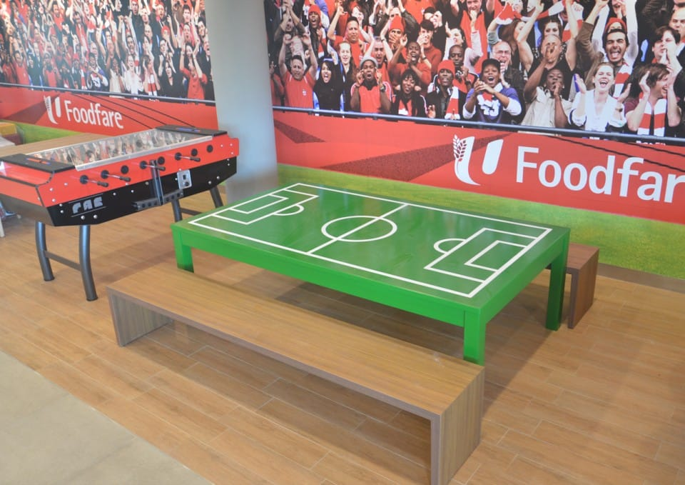 NTUC Foodfare | Product Seen: [Panel Bench w/ Clean Rubberwood Top – Customisable]