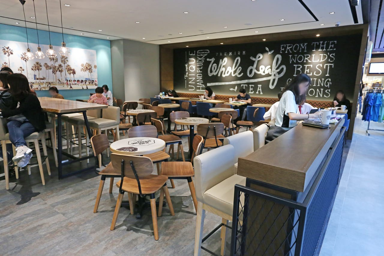 The Coffee Bean & Tea Leaf - Singpost Centre | Product Seen: [Spark Chair, Gladys Barchair – V2, Anderson Bar Table – Customisable & Customised Round Laminate table top + FLAT® KX22 – H720 (For Dining Table)]