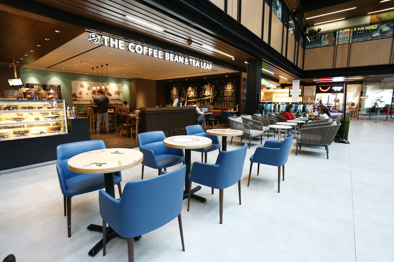 The Coffee Bean & Tea Leaf - Singpost Centre | Product Seen: [Grange Armchair & Customised Round Laminate table top + FLAT® KX22 – H720 (For Dining Table)]