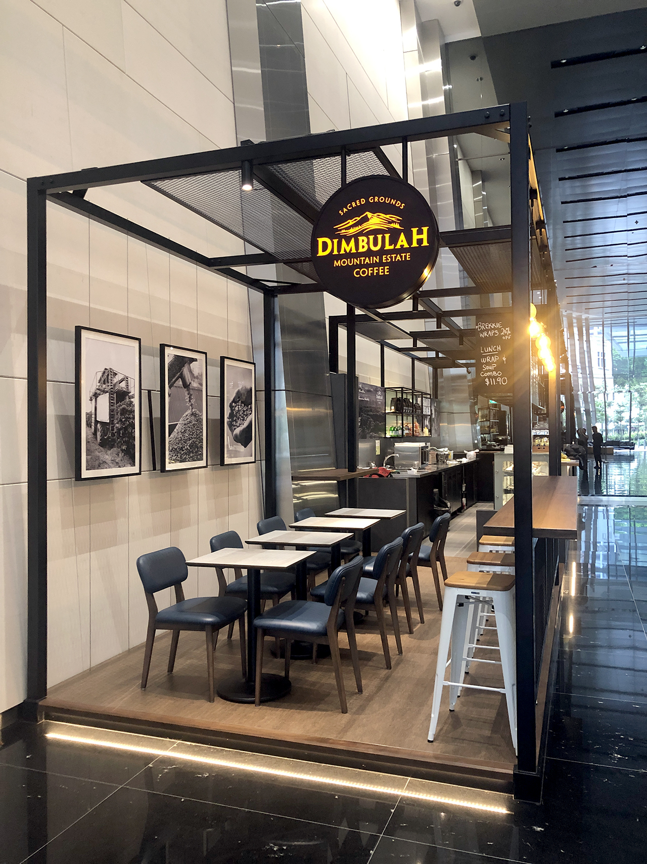 Dimbulah Coffee - Fraser Tower| Product Seen: [Leo Barstool SH750 – Wood Seat, Customised laminated tabletop + Cosson Table Base & Customised Furniture]<br />