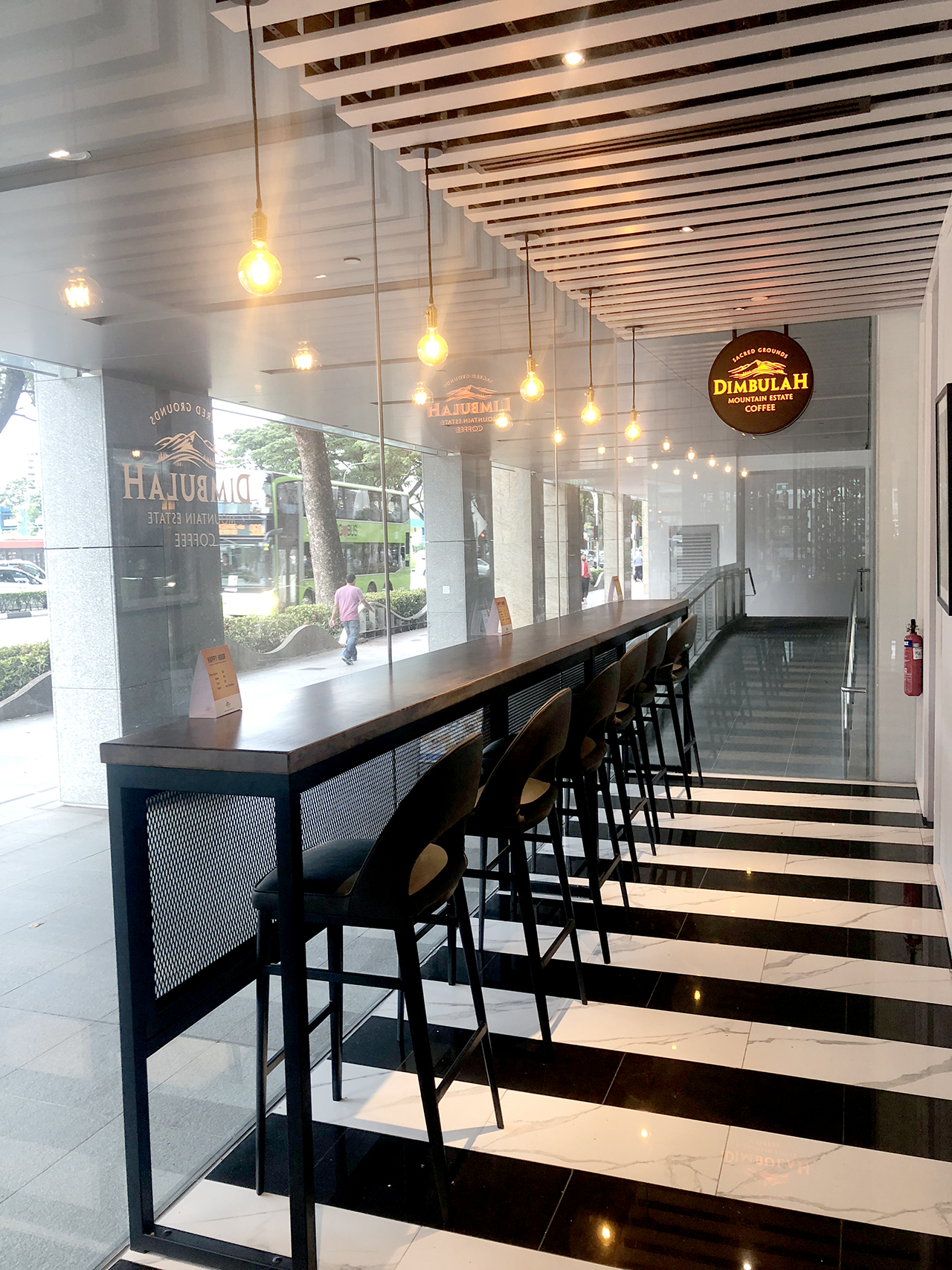 Dimbulah Coffee - Raffles Hospital | Product Seen: [Customised Butcher top +Ricky Table Base – CustomisableOtaru Barchair]
