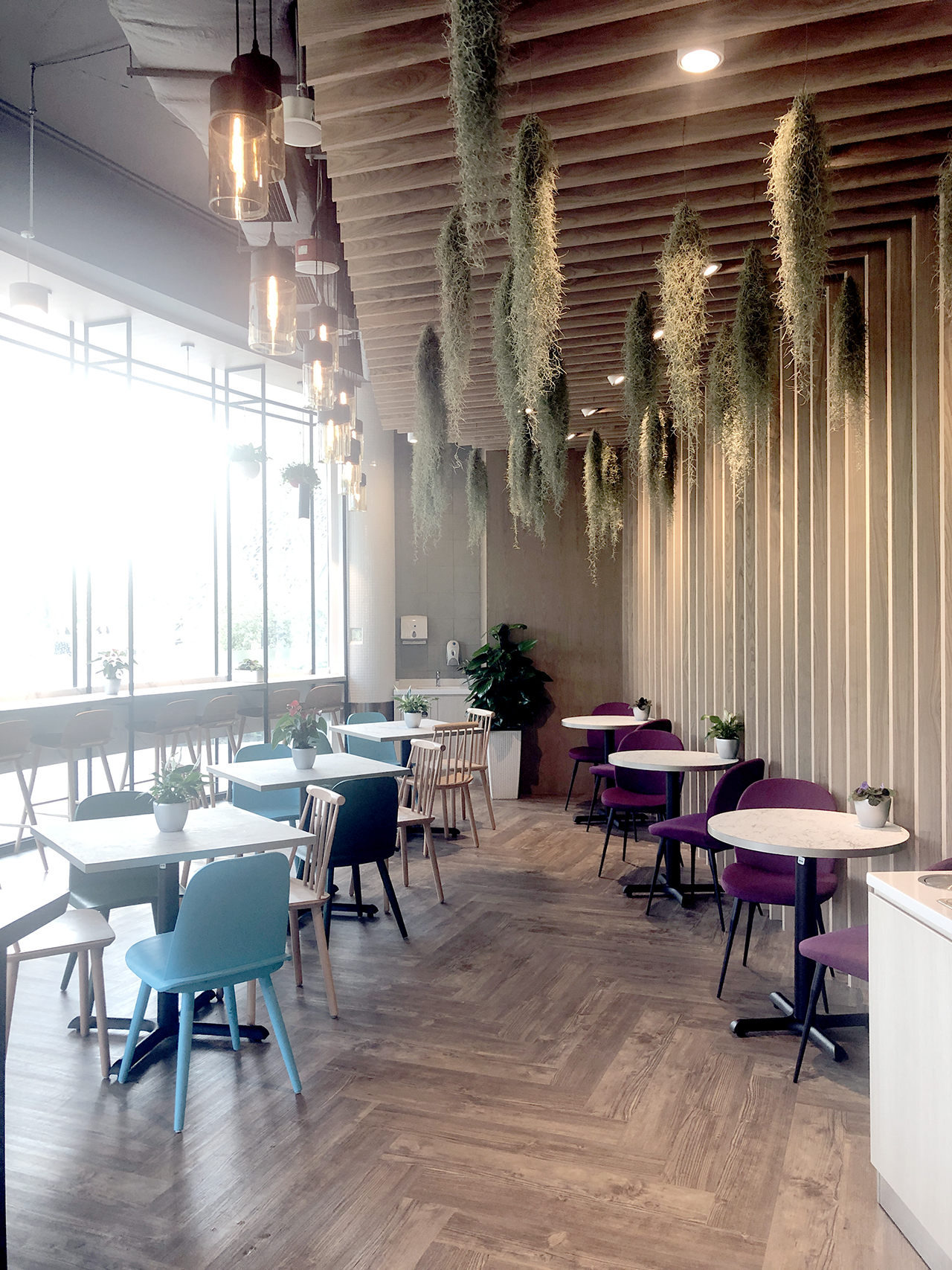 Cafe Aster - Gardens by the Bay | Product Seen: [Claudia Side Chair, Troy Side Chair, Robess Side chair & Customised laminated tabletop + FLAT® KX22 – H720 (For Dining Table)]