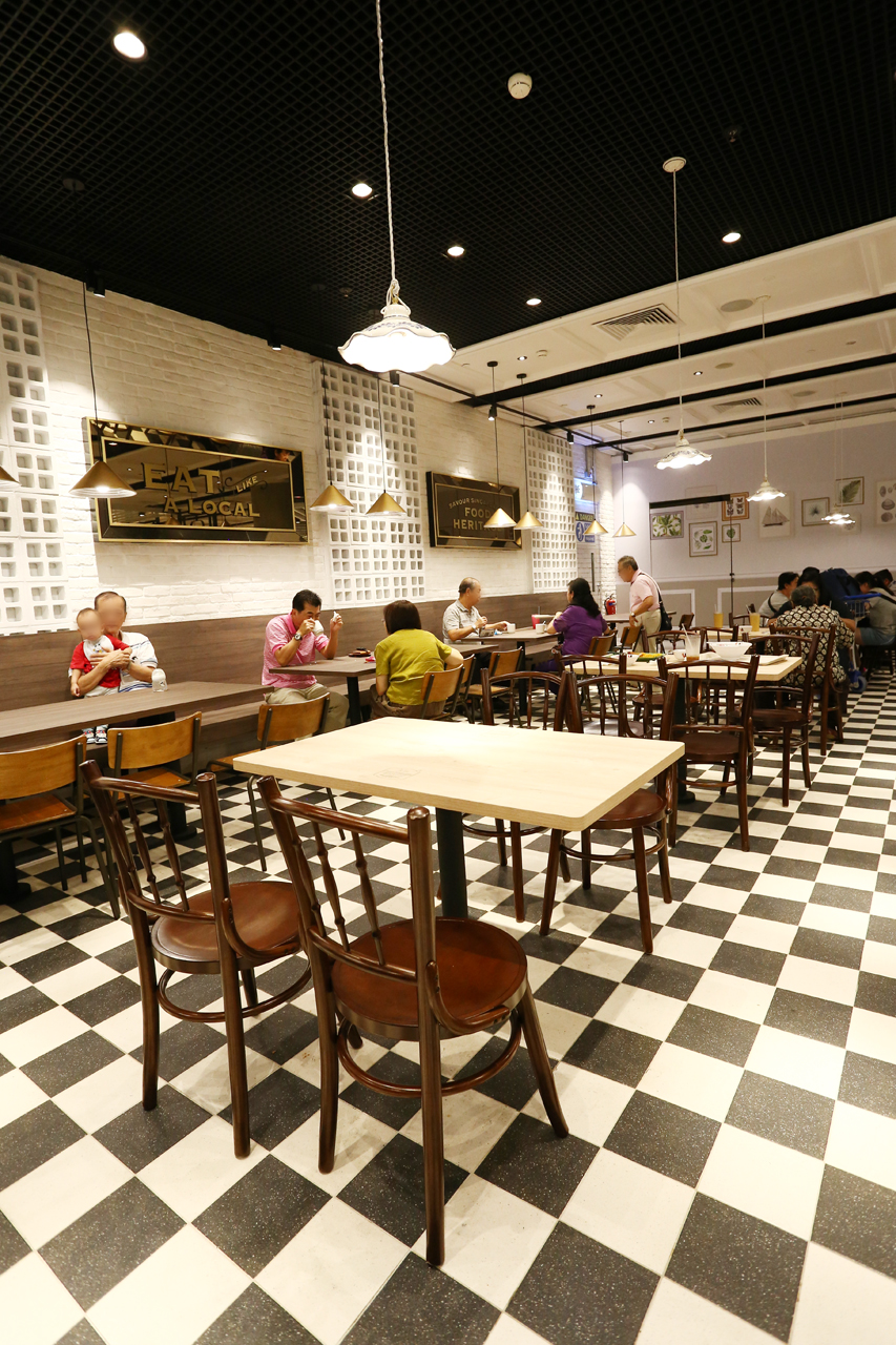 Food Emporium - Changi Airport Terminal 4 | Product Seen: [Kopitiam – Wenge Chair, Mantis Sidechair & Customised Laminate Tabletop + Mounty Table Base – Steel (for floor mounting)]