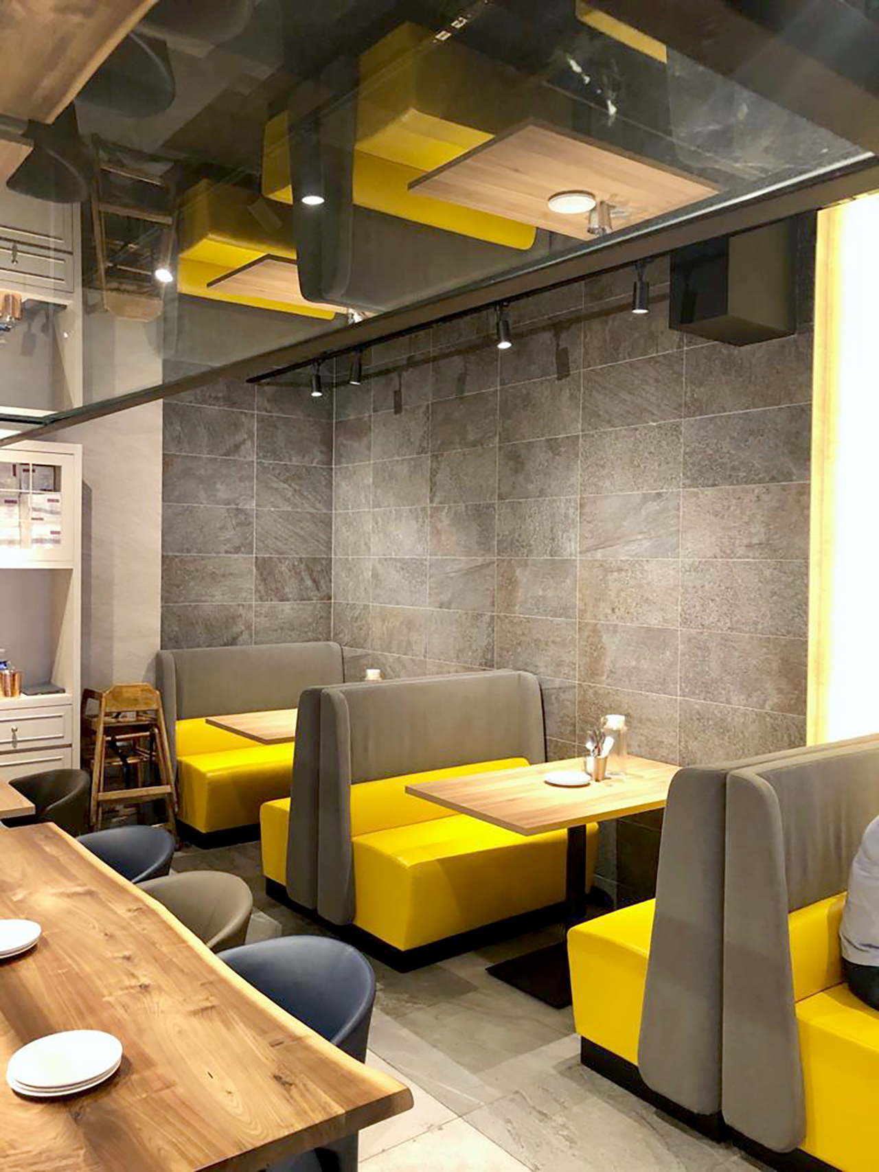 Kailash Parbat Restaurant - Syed Alwi Road | Product Seen: [Chaos 3–Seater Sofa – Highback & Customised Laminated Tabletop With ABS Edging + Pyram Table base]