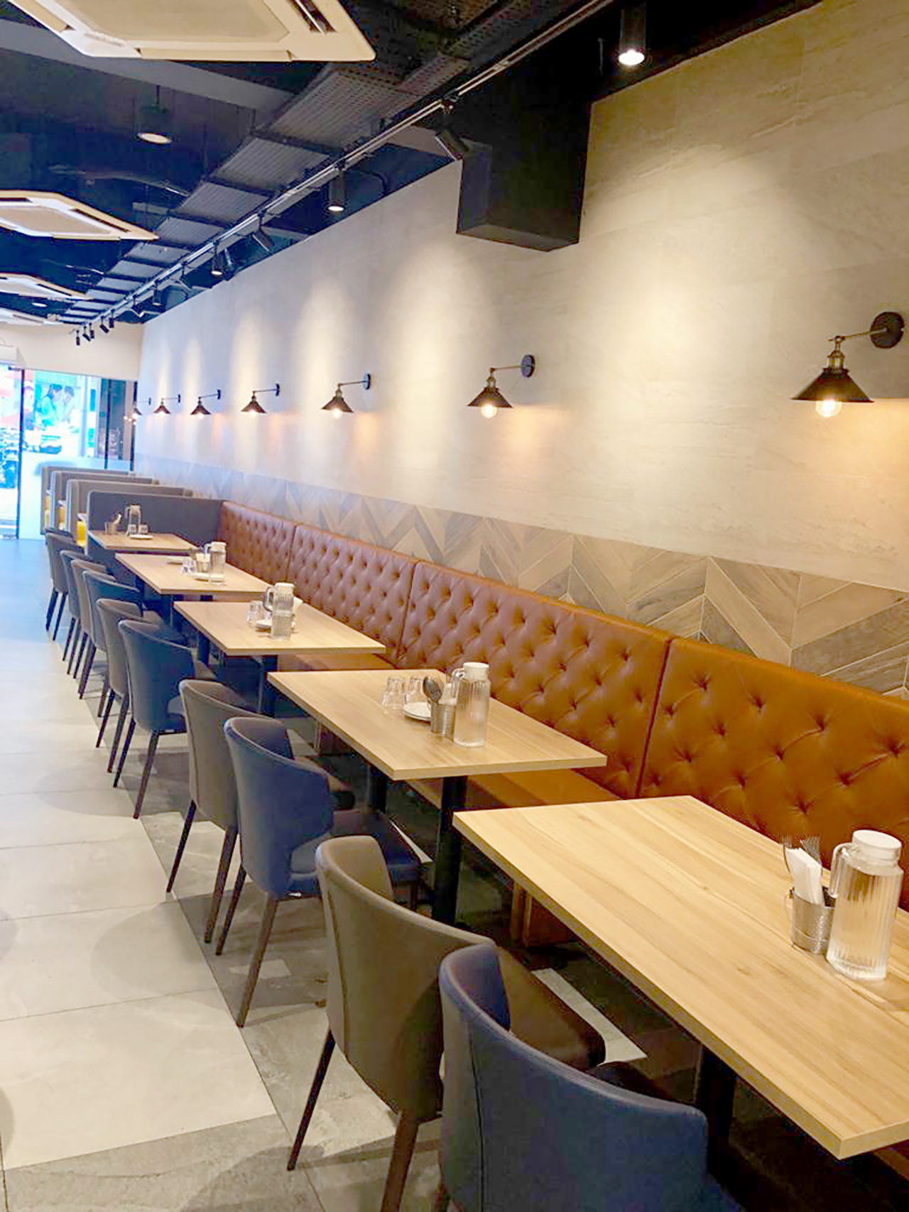 Kailash Parbat Restaurant - Syed Alwi Road | Product Seen: [Elephant Side Chair, Customised laminated top + pyram table base & Customising Booth seats]