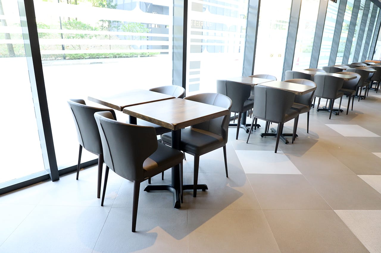 O'Coffee Club - Academia @ SGH | Product Seen: [Elephant Side Chair & Customised Butcher Block Wood + FLAT® KX22 – H720 (For Dining Table)]