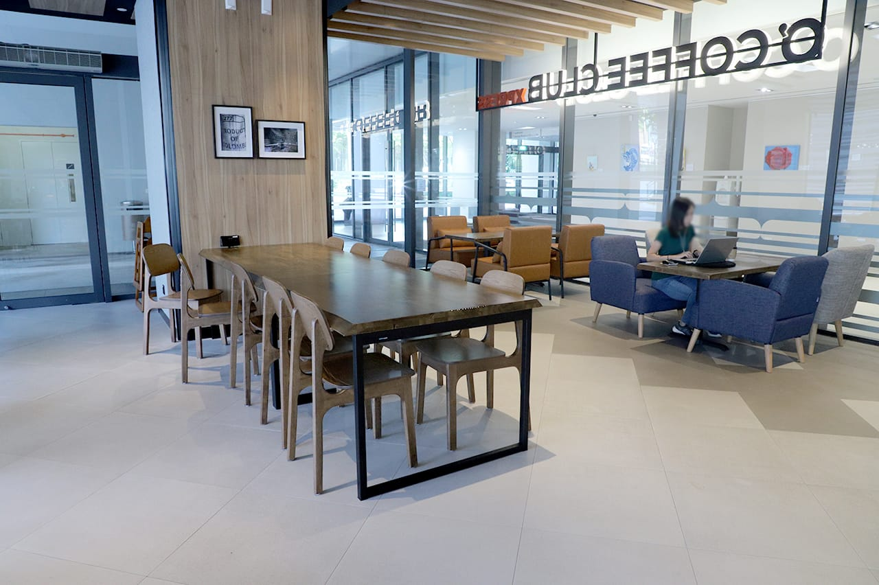 O'Coffee Club - Academia @ SGH | Product Seen: [Zurich - Wood Side chair, Ricky Dining Table w/ Butcher Top – Customisable, Atkin 1–Seater Sofa & Rexton 1–Seater Sofa]