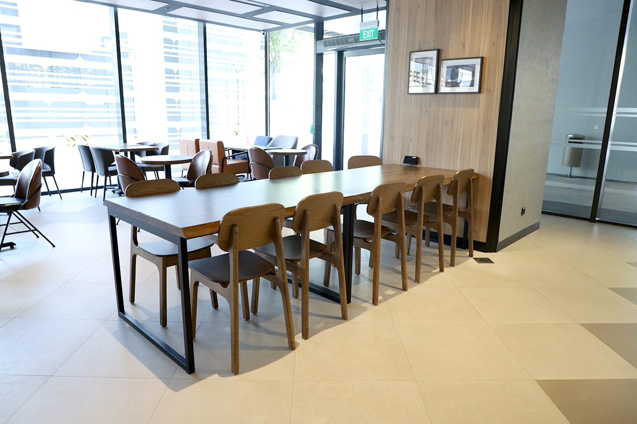 O'Coffee Club - Academia @ SGH | Product Seen: [Zurich - Wood Side chair & Ricky Dining Table w/ Butcher Top – Customisable]