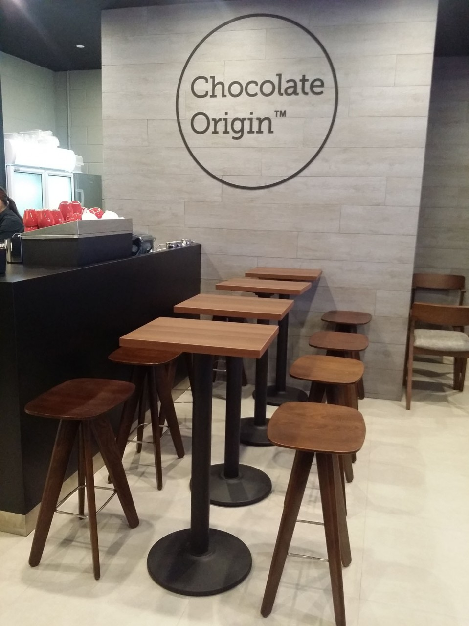 Chocolate Origin - Sports Hub | Products seen: [Frankfurt chair, Triumph Barstool & Cosson Table Base]