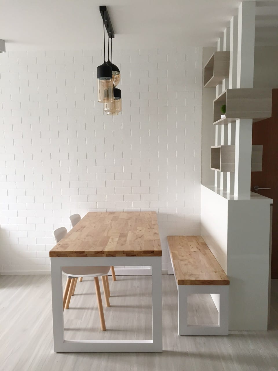 Apartment - Fernvale | Products Seen: [Uni (flushed) Dining Table w/ Butcher Top, Uni Bench w/ Butcher Top & Plug+ Round Leg Chair]