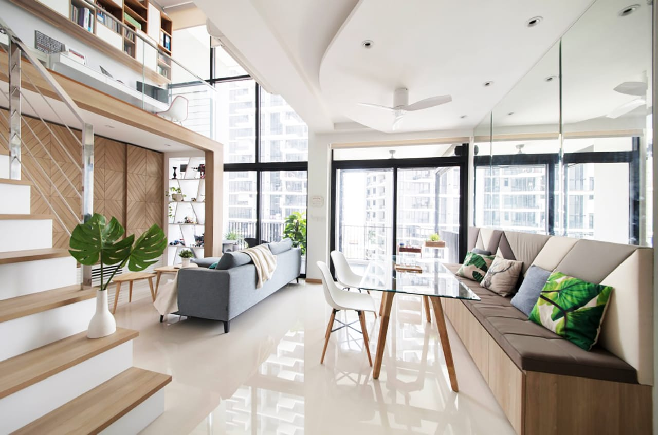 The Trilinq Condo by Free Space Intent | Product Seen: [Adik – Wood Chair, Putin Dining Table – W1400 & Tempo 3-in-1 Coffee Table]