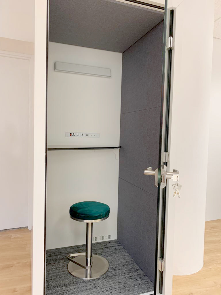Office - Income @ Raffles | Product Seen: [Retreat Privacy Phone Pod & Fin Barstool]