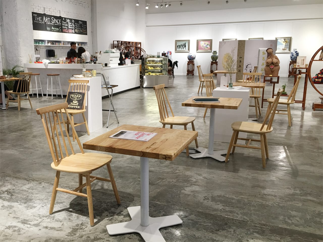 The Art Space - Suntec City | Products Seen: [Customised Butcher Tabletop with Pattaya Table Leg, Stellar - Natural & Toyo Barstool – Wood + White Epoxy]<br />